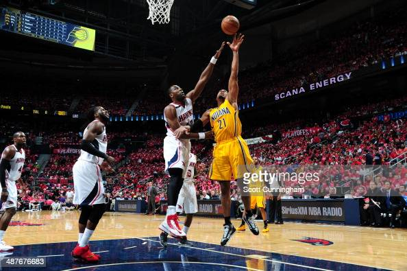 David West of the Indiana Pacers shoots the ball during Game Six of the Eastern Conference Quarterfinals against Elton Brand of the Atlanta Hawks on...