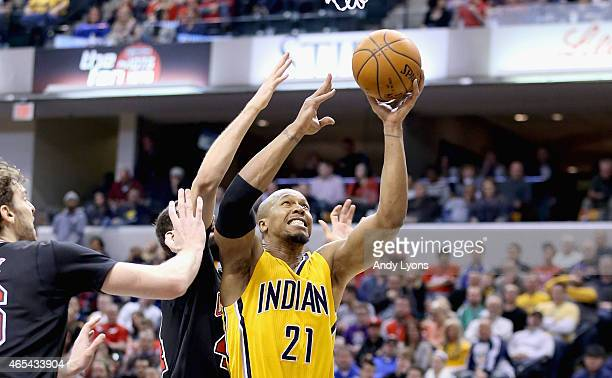 David West of the Indiana Pacers shoots the ball during the game against the Chicago Bulls at Bankers Life Fieldhouse on March 6 2015 in Indianapolis...