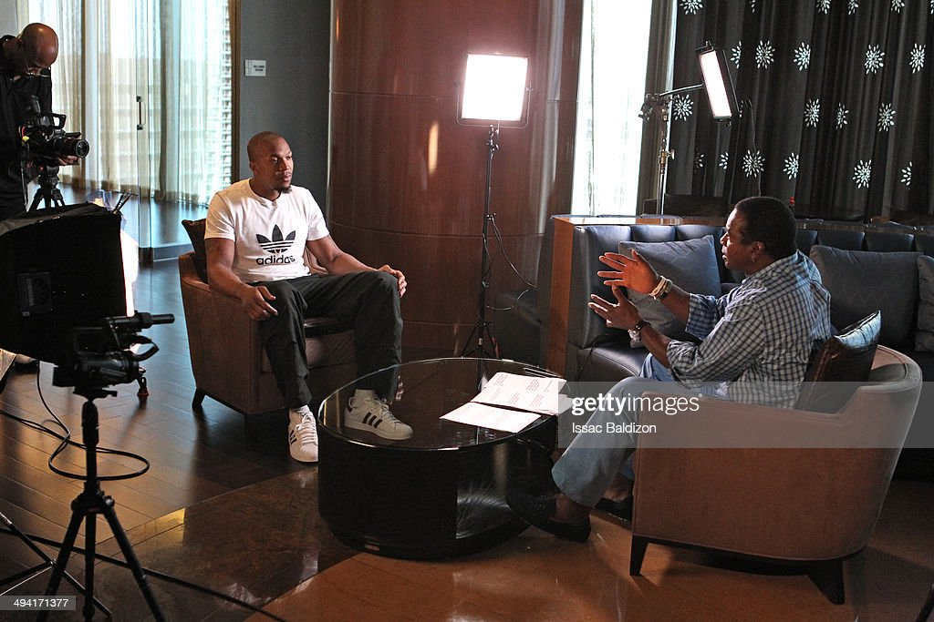 David West #21 of the Indiana Pacers sits down for an exclusive one on one interview with Ahmad Rashad at the J.W. Marriott Hotel in Miami, Florida.