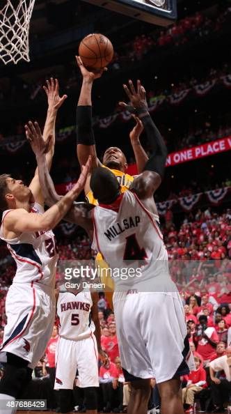 David West of the Indiana Pacers takes a shot against the Atlanta Hawks during Game Six of the Eastern Conference Quarterfinals on May 1 2014 at...