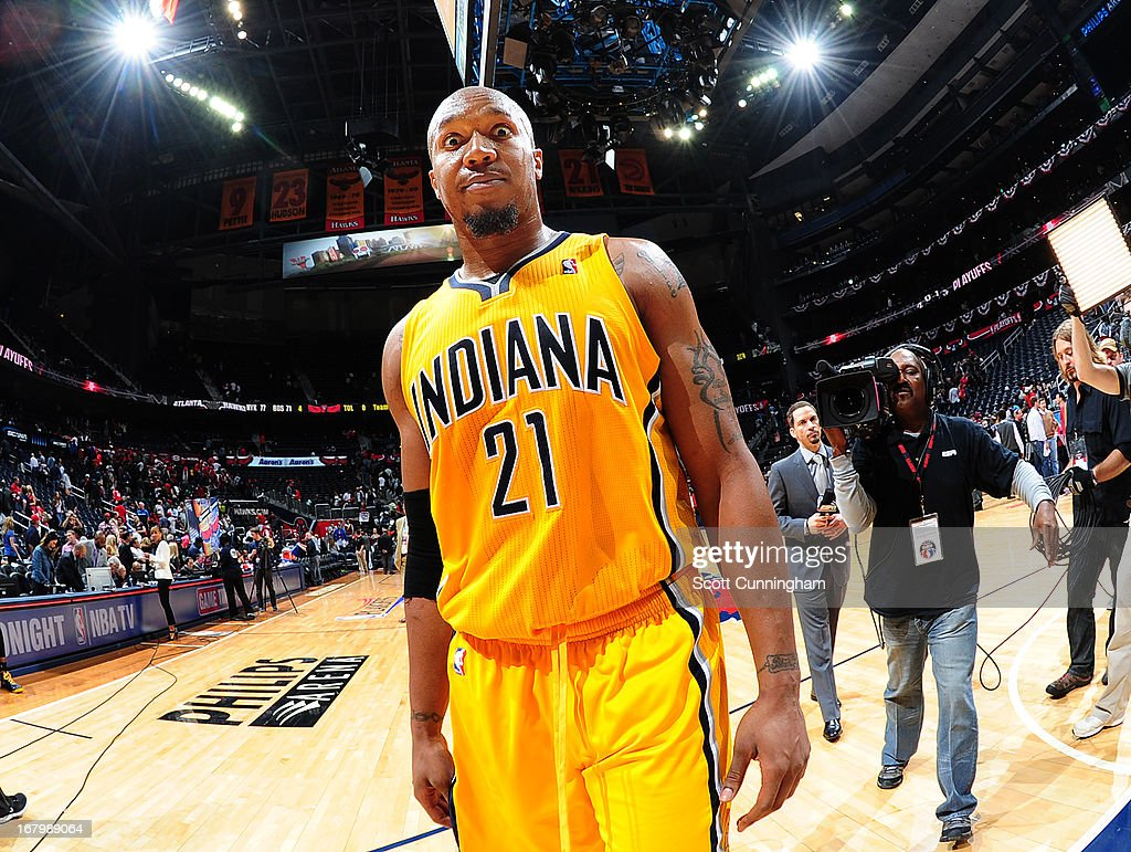 David West #21 of the Indiana Pacers walks off the court after the game against the Atlanta Hawks during Game Six of the Eastern Conference Quarterfinals in the 2013 NBA Playoffs on May 3, 2013 at Philips Arena in Atlanta, Georgia.