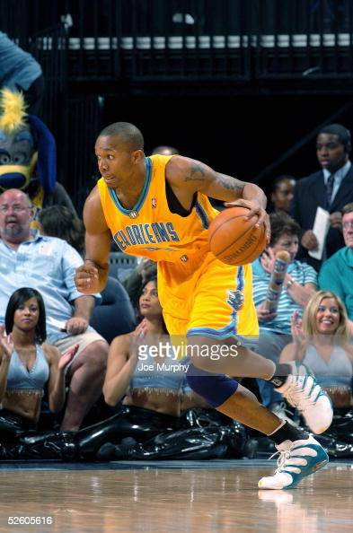 David West of the New Orleans Hornets moves the ball against the Memphis Grizzlies at FedexForum on March 26 2005 in Memphis Tennessee The Hornets...