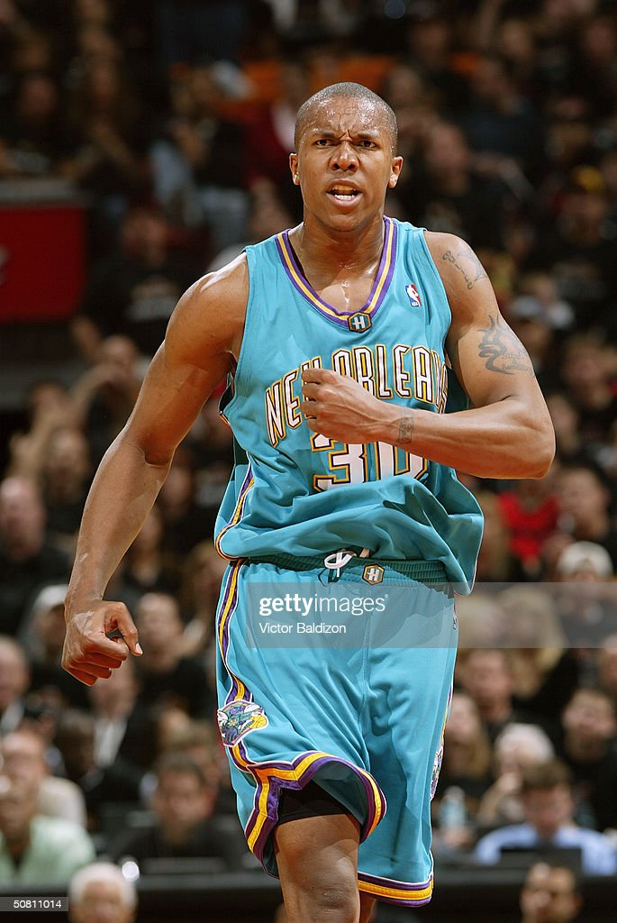 David West of the New Orleans Hornets on the court in Game one of the Eastern Conference Quarterfinals during the 2004 NBA Playoffs against the Miami...