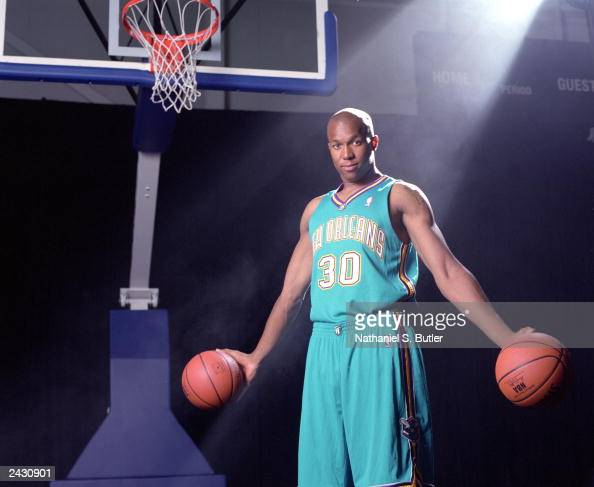 David West of the New Orleans Hornets poses for a portrait during the NBA Rookie Photo Shoot at the Madison Square Garden training facility on August...