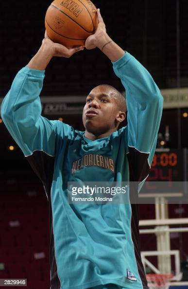 David West of the New Orleans Hornets warms up before the game against the Orlando Magic during the game at the TD Waterhouse Centre in Orlando...