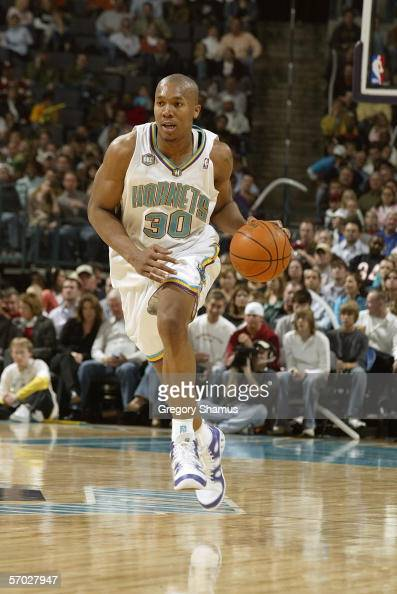 David West of the New Orleans/Oklahoma City Hornets dribbles against the Seattle SuperSonics during a NBA game on February 8 2006 at the Ford Center...