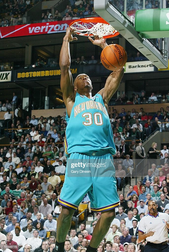 David West of the New Orleans/Oklahoma City Hornets dunks against the Boston Celtics on November 1 2006 at the TD Banknorth Garden in Boston...