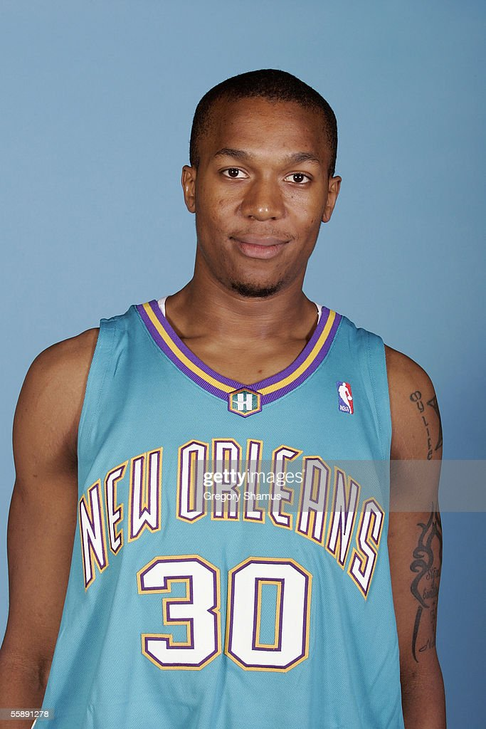 David West of the New Orleans/Oklahoma City Hornets poses for a portrait during NBA Media day at Ford Center on October 3 2005 in Oklahoma City...