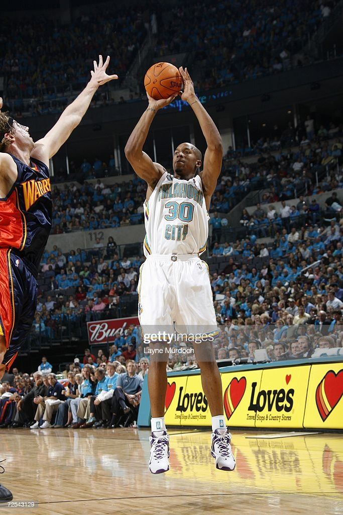 David West of the New Orleans/Oklahoma City Hornets shoots against the Golden State Warriors on November 7 2006 at the Ford Center in Oklahoma City...