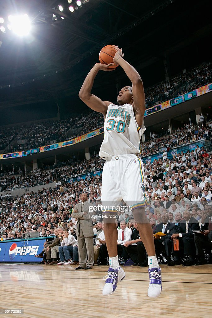 David West of the New Orleans/Oklahoma City Hornets shoots during the game against the Sacramento Kings at the Ford Center on November 1 2005 in...