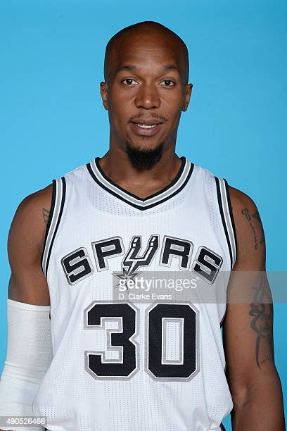 David West of the San Antonio Spurs at NBA Media Day at the Spurs Practice Facility on September 28 2015 in San Antonio Texas NOTE TO USER User...