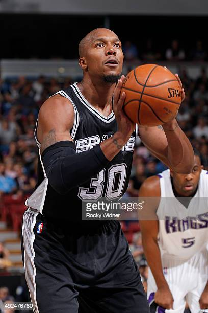David West of the San Antonio Spurs attempts a free throw shot against the Sacramento Kings on October 8 2015 at Sleep Train Arena in Sacramento...