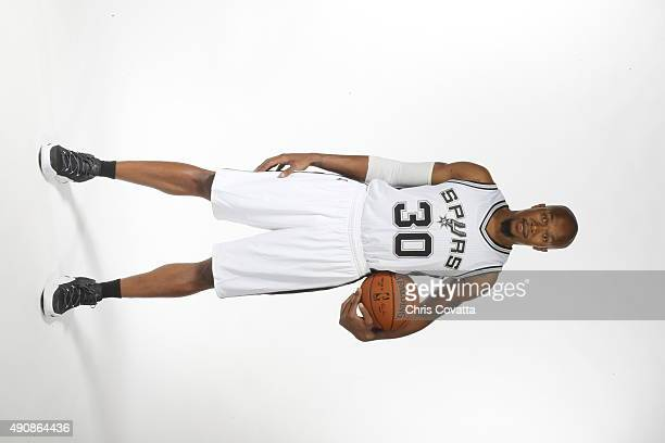 David West of the San Antonio Spurs poses for a portrait during media day at the Spurs Training Facility on September 28 2015 in San Antonio Texas...