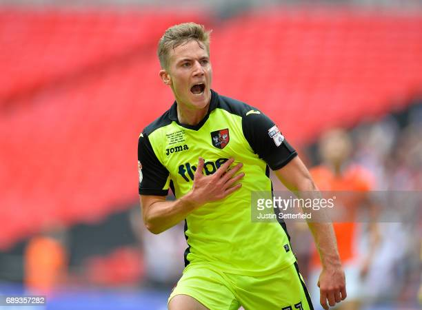 David Wheeler of Exeter City celebrates scoring his sides first goal during the Sky Bet League Two Playoff Final between Blackpool and Exeter City at...