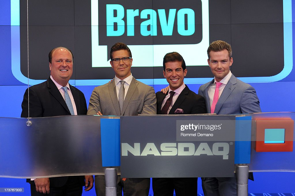David Wicks, Fredrik Eklund, Luis D Ortiz and Ryan Serhant ring the NASDAQ closing bell at NASDAQ MarketSite on July 17, 2013 in New York City.