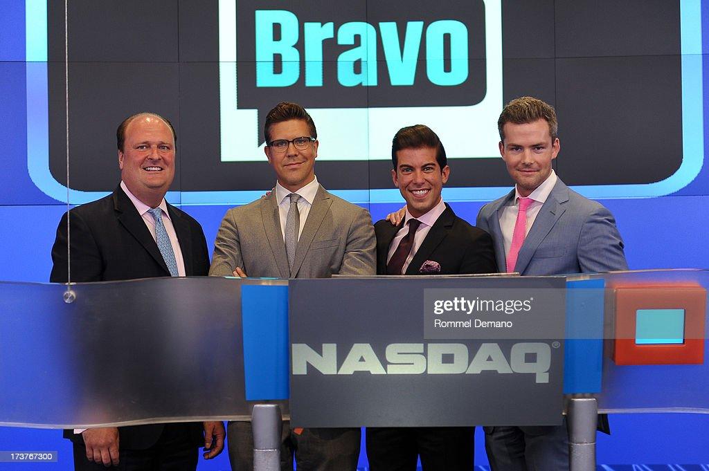 David Wicks, Fredrik Eklund, Luis D Ortiz and Ryan Serhant ring the NASDAQ closing bell at NASDAQ MarketSite on July 17, 2013 in New York City.
