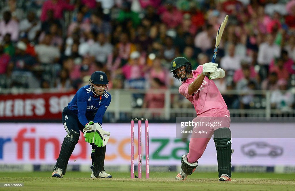 David Wiese of South Africa bats during the 4th Momentum ODI between South Africa and England at Bidvest Wanderers Stadium on February 12, 2016 in Johannesburg, South Africa.