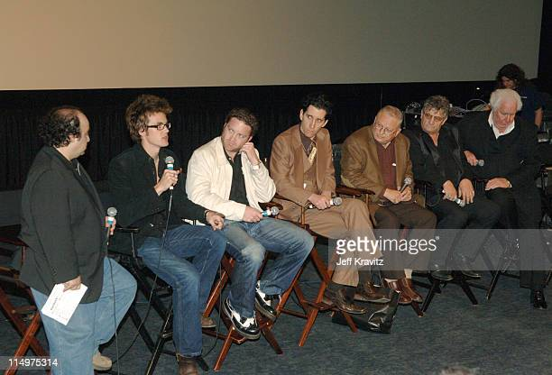 David Wild Tyler Hilton Larry Bagby Dan John Miller Gene Beley Bob Wootton and WS Holland celebrate the DVD release of 'Walk the Line' at a special...