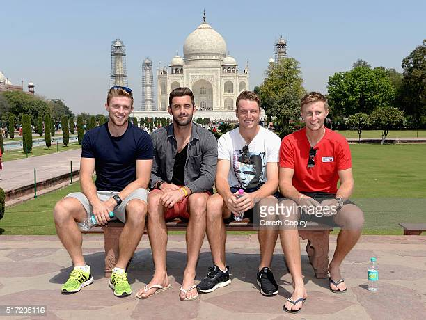 David Willey Liam Plunkett Jos Buttler and Joe Root of England pose for a portrait during a visit to the Taj Mahal on March 24 2016 in Agra India
