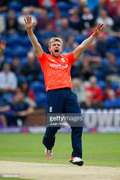 David Willey of England appeals unsuccessfully during the NatWest T20 International match between England and Australia at SWALEC Stadium on August...