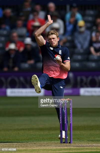 David Willey of England bowls during the Royal London One Day International between England and Ireland at The Brightside Ground on May 5 2017 in...