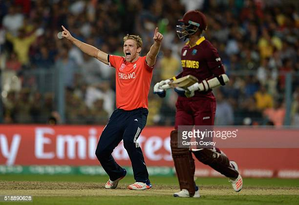 David Willey of England celebrates dismissing Andre Russell of the West Indies during the ICC World Twenty20 India 2016 Final between England and the...