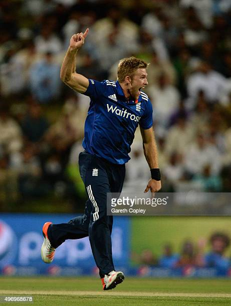 David Willey of England celebrates dismissing Mohammad Hafeez of Pakistan during the 2nd One Day International between Pakistan and England at Zayed...