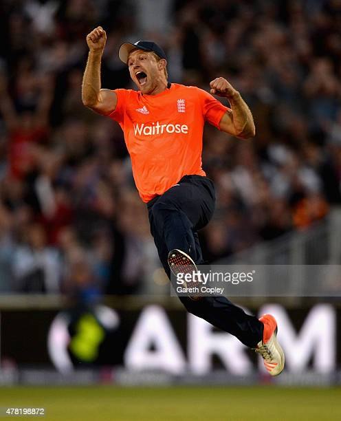 David Willey of England celebrates running out Kane Williamson of New Zealand during the NatWest International Twenty20 match between England and New...