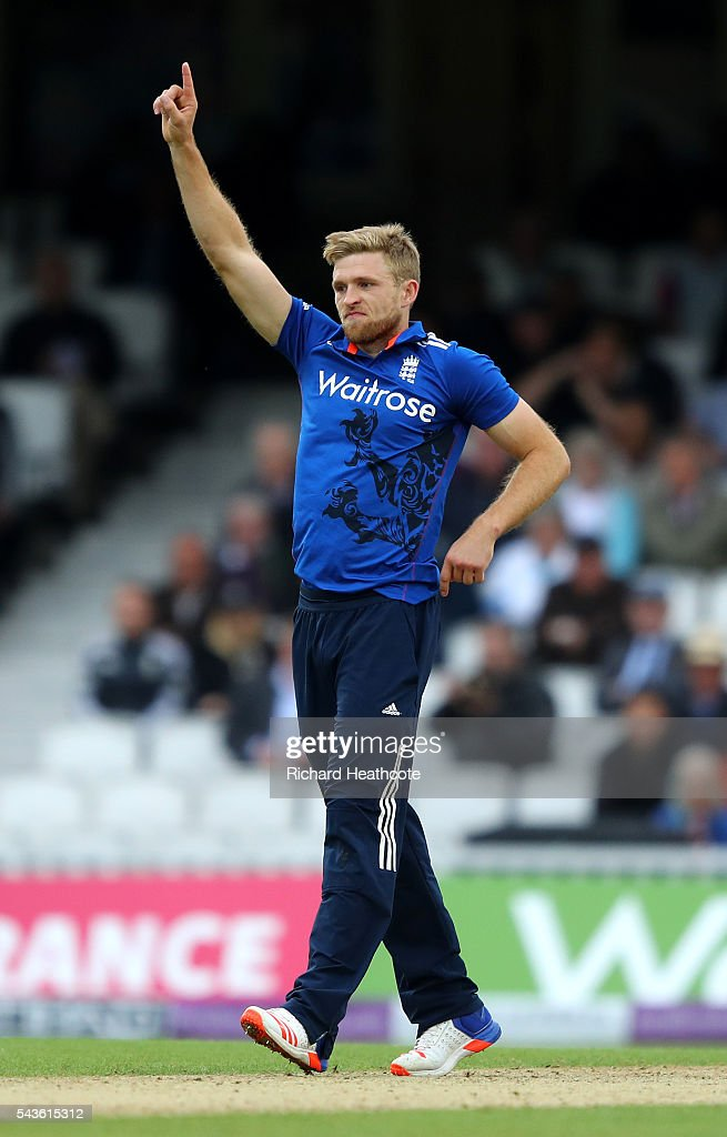 <a gi-track='captionPersonalityLinkClicked' href=/galleries/search?phrase=David+Willey+-+Cricketer&family=editorial&specificpeople=14835104 ng-click='$event.stopPropagation()'>David Willey</a> of England celebrates taking the wicket of Seekkuge Prasanna during the 4th Royal London ODI between England and Sri Lanka at The Kia Oval on June 29, 2016 in London, England.