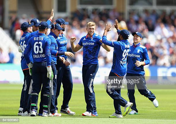David Willey of England celebrates the wicket of Kusal Perera of Sri Lanka caught by Jaosn Roy of England during of the 1st ODI Royal London One Day...