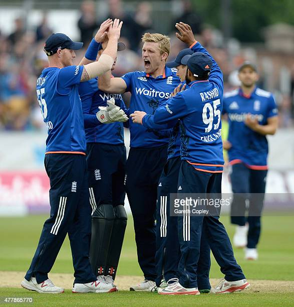 David Willey of England celebrates with teammates after dismissing Luke Ronchi of New Zealand during the 5th ODI Royal London OneDay match between...