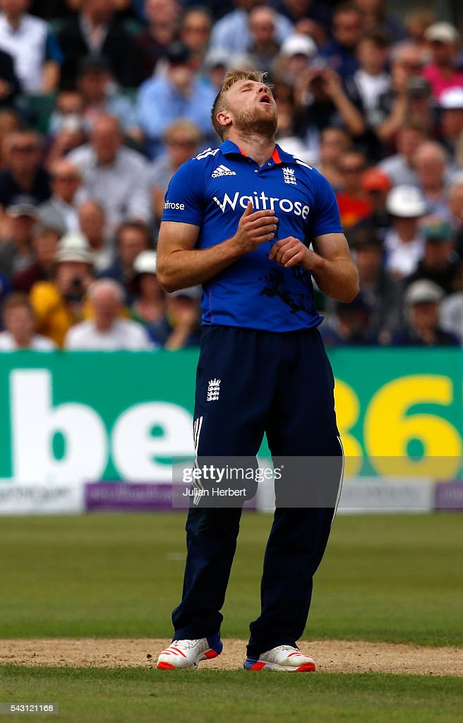 David Willey of England in action during The 3rd ODI Royal London One-Day match between England and Sri Lanka at The County Ground on June 26, 2016 in Bristol, England.