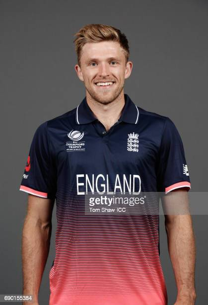 David Willey of England poses for a portrait during the England Portrait session for the ICC Champions Trophy at Grange City on May 30 2017 in London...