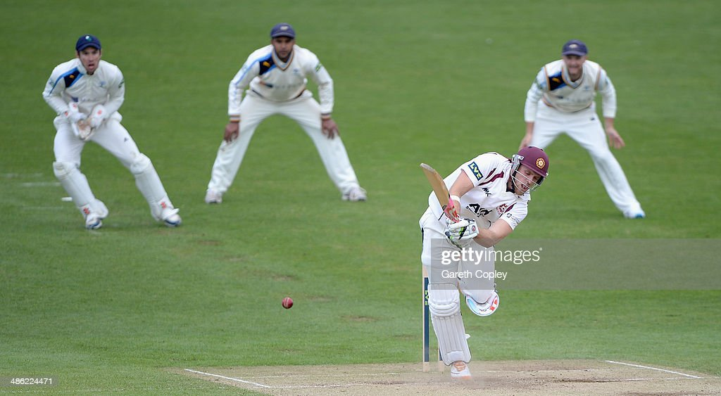 <a gi-track='captionPersonalityLinkClicked' href=/galleries/search?phrase=David+Willey+-+Cricketer&family=editorial&specificpeople=14835104 ng-click='$event.stopPropagation()'>David Willey</a> of Northamptonshire bats during day four of the LV County Championship division One match between Yorkshire and Northamptonshire at Headingley on April 23, 2014 in Leeds, England.
