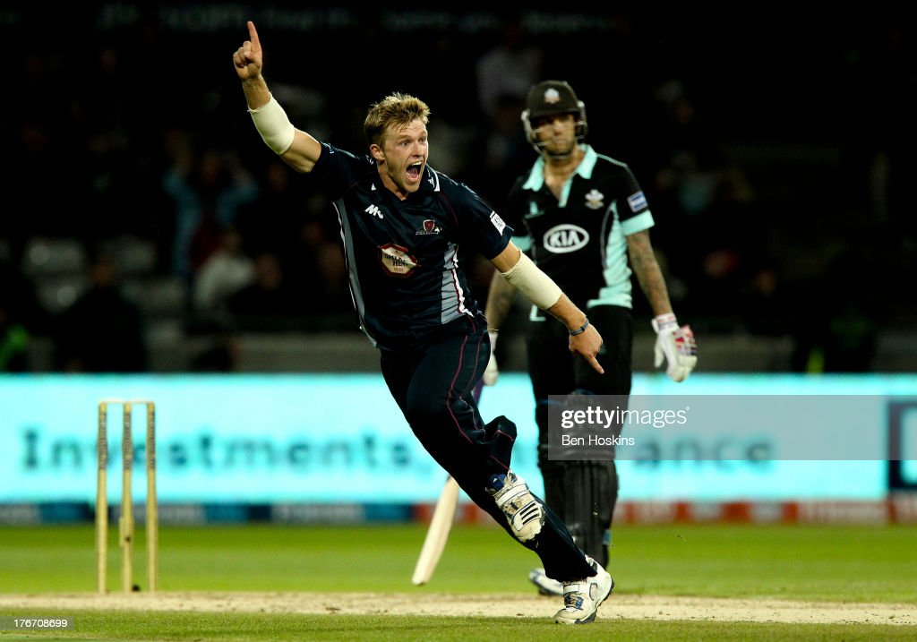 David Willey of Northamptonshire celebrates after taking the last wicket and getting a hat trick during The Friends Life T20 final between the Surrey...