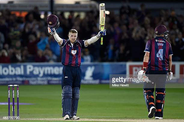 David Willey of Northamptonshire celebrates reaching his century during the NatWest T20 Blast Quarter Final between Sussex Sharks v Northamptonshire...