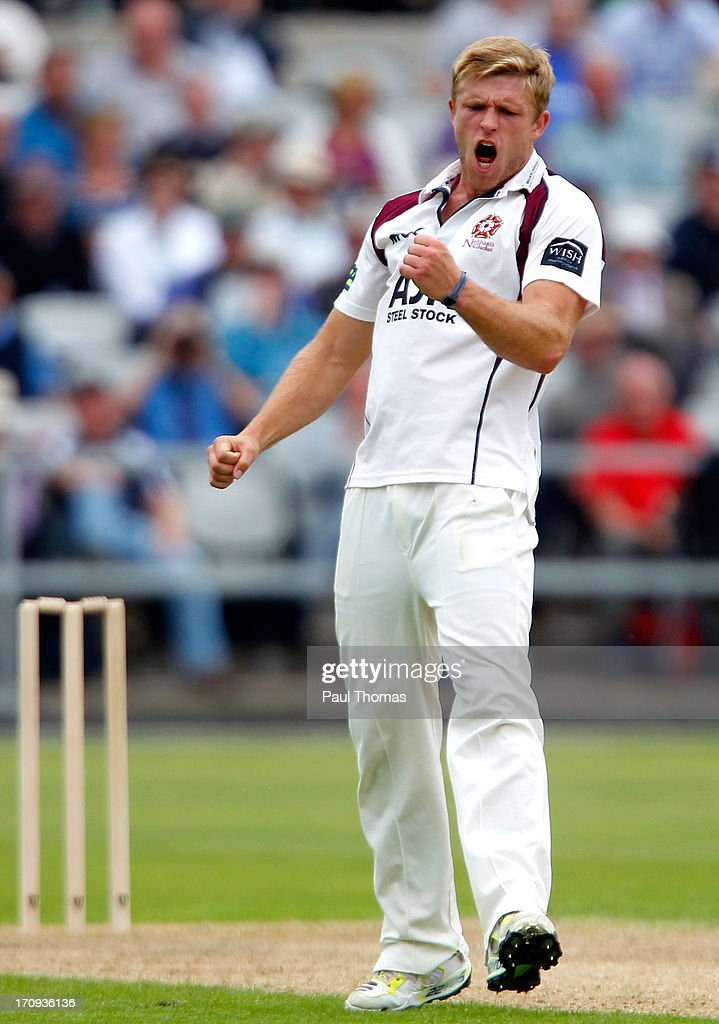 David Willey of Northants celebrates after taking the wicket of Lancashire's Luis Reece (not pictured) during day one of the LV County Championship Division Two match between Lancashire and Northamptonshire at Old Trafford on June 20, 2013 in Manchester, England.