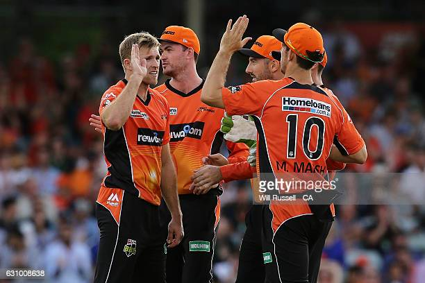 David Willey of the Scorchers celebrates after taking the wicket of Jimmy Peirson of the Heat during the Big Bash League match between the Perth...