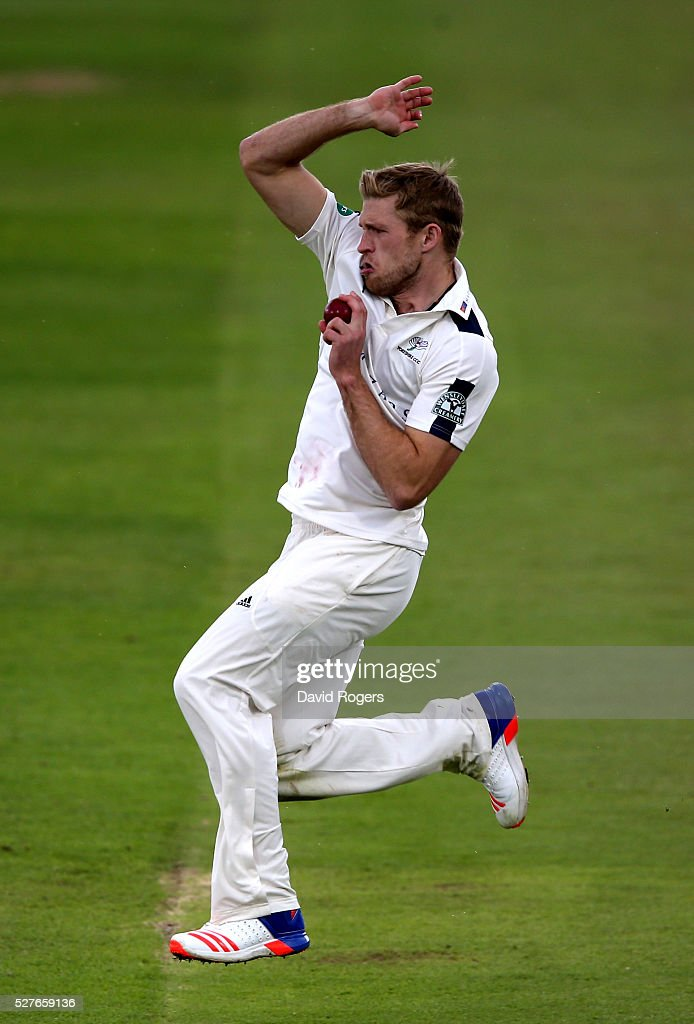 David Willey of Yorkshire bowls during the Specsavers County Championship division one match between Nottinghamshire and Yorkshire at the Trent Bridge on May 3, 2016 in Nottingham, England.