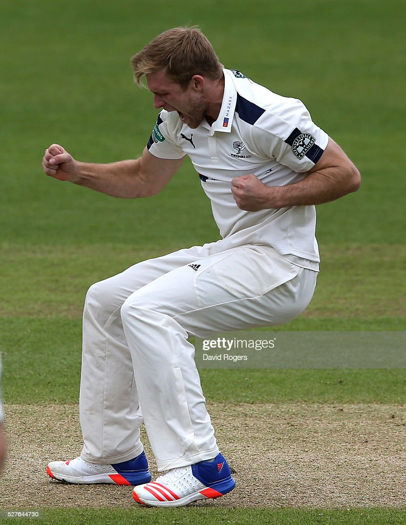 David Willey of Yorkshire celebrates after taking the wicket of Steven Mullaney during the Specsavers County Championship division one match between Nottinghamshire and Yorkshire at the Trent Bridge on May 3, 2016 in Nottingham, England.