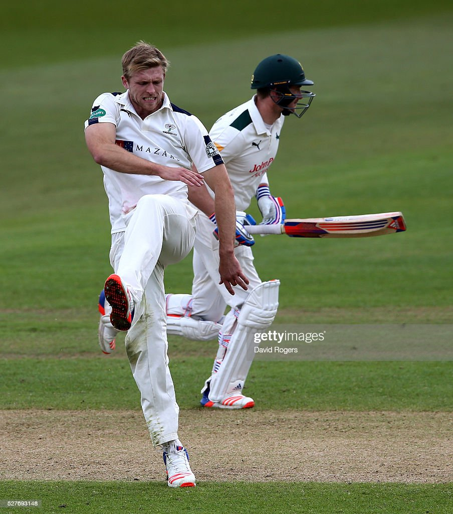<a gi-track='captionPersonalityLinkClicked' href=/galleries/search?phrase=David+Willey+-+Cricketer&family=editorial&specificpeople=14835104 ng-click='$event.stopPropagation()'>David Willey</a> of Yorkshire kicks the ground in frustration after bowling a loose delivery during the Specsavers County Championship division one match between Nottinghamshire and Yorkshire at the Trent Bridge on May 3, 2016 in Nottingham, England.