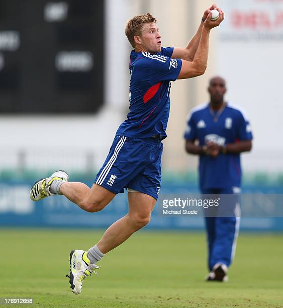David Willey takes a catch during the England Lions training session at The County Ground on August 19 2013 in Bristol England