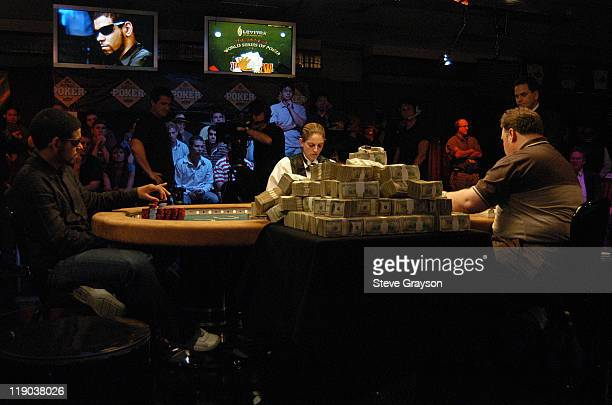 David Williams and Greg Raymer in action during the final round of the 2004 World Series of Poker at Binion's Horseshoe Club and Casino in Las Vegas...