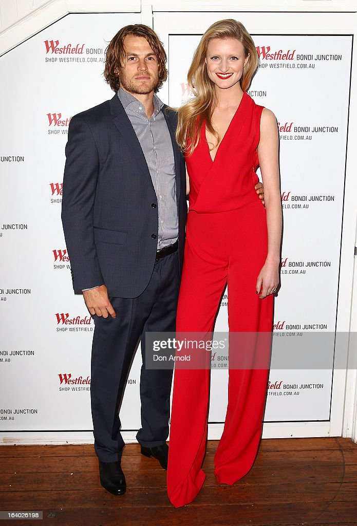 David Williams ans Candice Lake pose at the Westfield Autumn/Winter 2013 launch at Pelicano Bar on March 19, 2013 in Sydney, Australia.