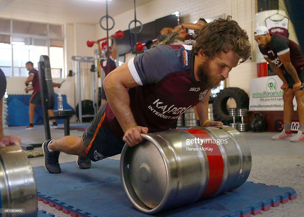 David Williams in action during a Manly Sea Eagles pre season training at Randalls Gym, Brookvale, on January 6, 2015 in Sydney, Australia.