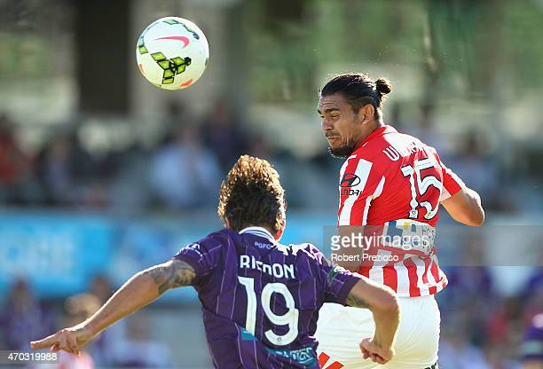 David Williams of Melbourne City has a shot on goal during the round 26 ALeague match between the Perth Glory and Melbourne City FC at nib Stadium on...
