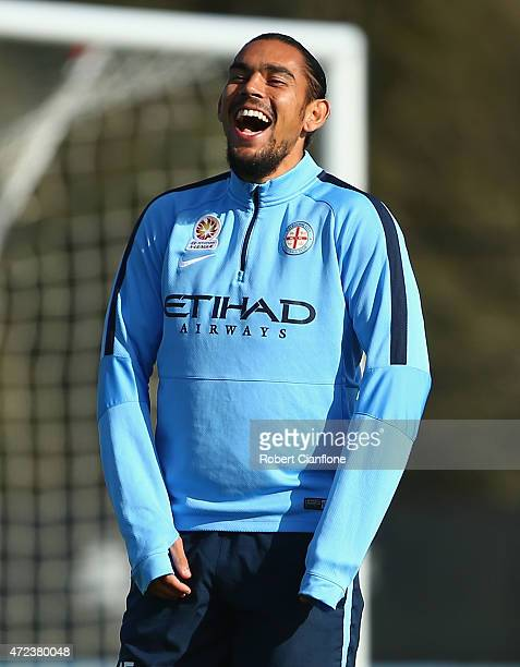 David Williams of Melbourne City laughs during a Melbourne City FC ALeague training session at City Football Academy on May 7 2015 in Melbourne...