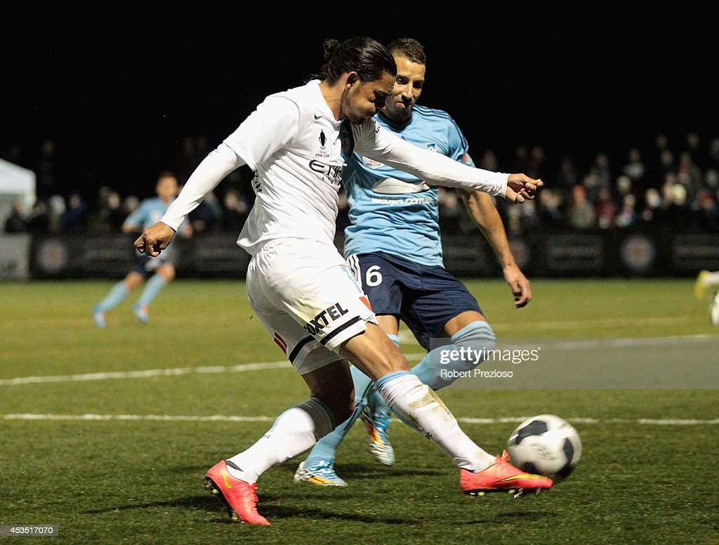 David Williams of Melbourne City passes the ball during the FFA Cup match between Melbourne City and Sydney FC at Morshead Park Stadium on August 12, 2014 in Ballarat, Australia.