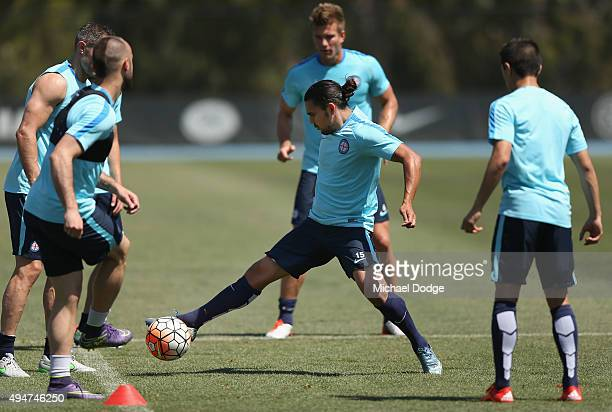 David Williams of the City controls the ball during the Melbourne City FC ALeague training session at La Trobe University Sports Fields on October 29...