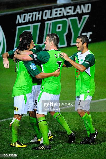 David Williams of the Fury celebrates with team mates after scoring the match winning goal during the round ten ALeague match between the North...